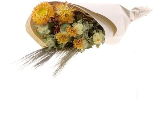 Droogbloemenboeket Orange Helichrysum/ Bidens / Triticum black wisps Droogbloemenpakket in kraft