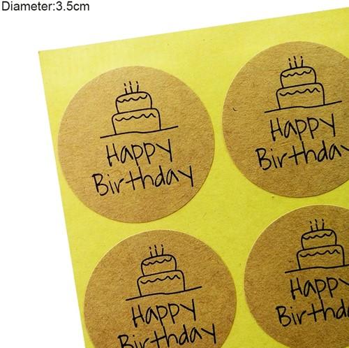 100 Stickers Labels Happy Birthday rond kraft gefeliciteerd sluitsticker