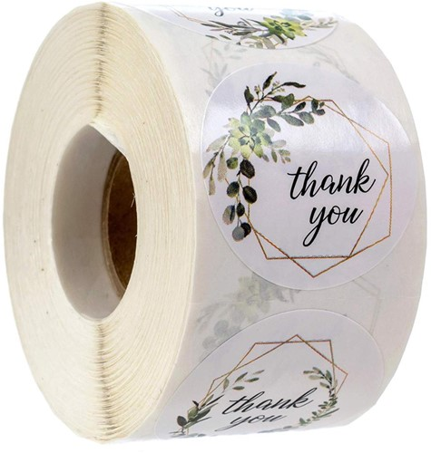 500 Stickers Labels Rol Thank you 4 designs Greenery rol etiketten