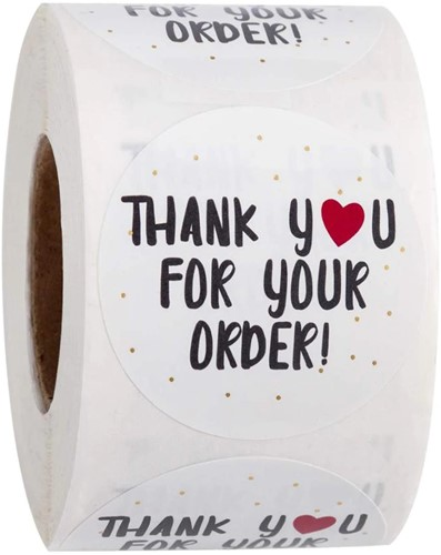 500 Stickers Labels Rol Thank you for your order  met rood hartje