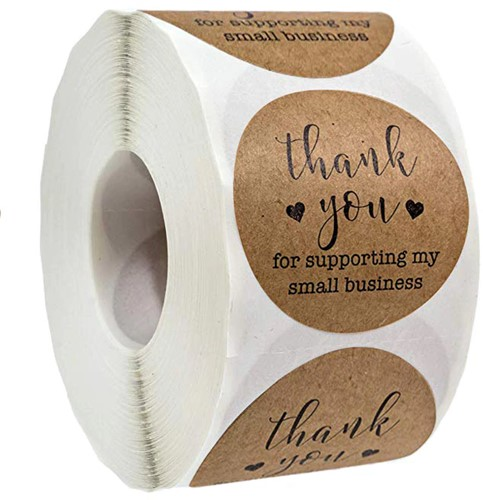 500 Stickers Labels Rol Thank you for Supporting My Small Business  rol etiketten