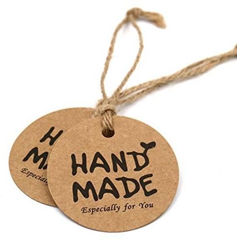 Labels kraft Handmade +/- 100 stuks  incl touw labels 3cm