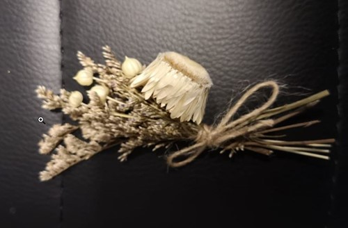 Corsage Droogbloemen Helichrysum 01Wit Corsage Dried