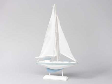 Houten zeilschip blauw/wit Medium 19x30 cm. Maritiem blauw/wit