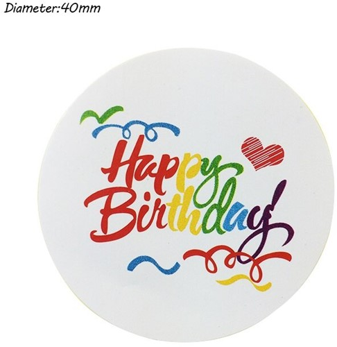 100 Stickers Labels Happy Birthday Kleur opdruk gefeliciteerd sluitsticker