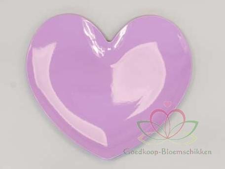 Onderbord Hartvorm ROZE 33 cm. op=op hart onderbord