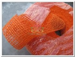 Juteband Oranje rol +/- 40 meter 5 cm breed Juteband Oranje rol +/- 4