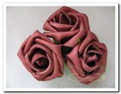 foam roos Bruin 5, 5 cm. / 3st foam roos Bruin
