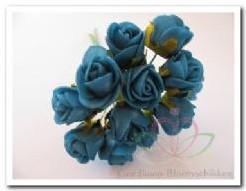 Mini foam roos 2 cm. Blauw Azuro/ bundel Mini foam roos
