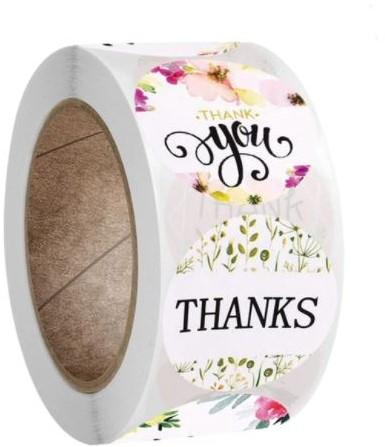 500 Stickers Labels Rol Roze div Thanks Thankyou leuk assortiment Thank you so much, Thankful  rol sluit etiketten