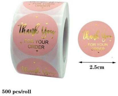 500 Stickers Labels Rol Thank you for your order rol ROZE etiketten met goud