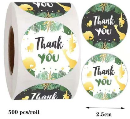500 Stickers Labels Rol Thank you Multy rol etiketten met botanicalstyle