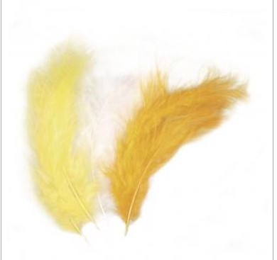 Donsverenmengsel Donsveer geeltintentinten  10-15cm, ZB-zak à 15 stuks donsveren veertjes zonnegeel