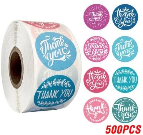 500 Stickers Labels Rol Thank you Roze en blauw rol etiketten