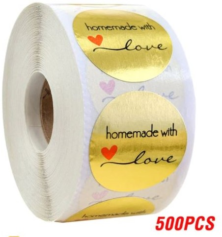 500 Stickers Labels Rol Goud Homemade With Love Goud met rood hartje