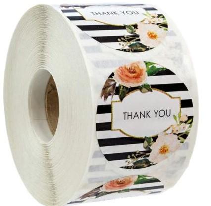 500 Thank You zwart witte streepstickers 1 inch Labels +/- 500 Per rol Thank you sluitsticker labels