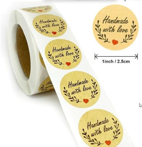 500 Stickers Labels Rol Handmade with love Olijf+kraft no559 rol kraft etiketten