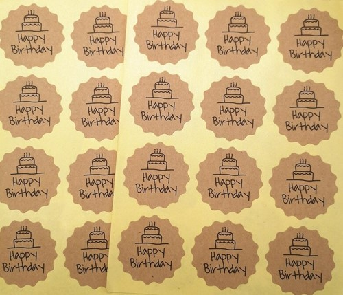 120 Stickers Labels Happy Birthday rond KARTEL kraft gefeliciteerd sluitsticker