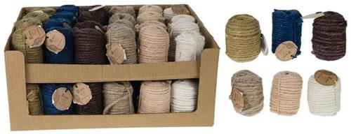 Assortiment Jute 6 verschillende kleuren SET van 6 rollen Rope on spool 11mtr / rol
