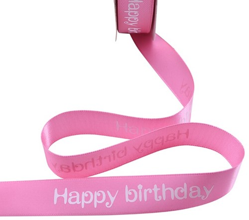 Lint bedrukt Satijnlint HAPPY BIRTHDAY 5m           Pink2 Polyester