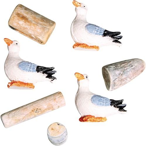 Maritiem Polyresin meeuwen en houten strooideeltj, 1-4, 5cm, zeemeeuwen