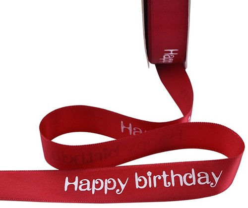 Lint bedrukt Satijnlint HAPPY BIRTHDAY 5m rood Polyester