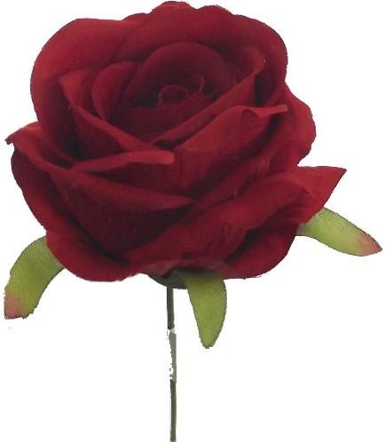 Open Roos zijde 27cm Rood Rode roos op draad