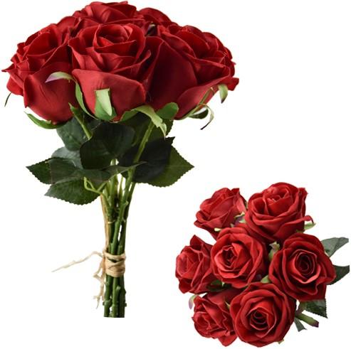 Valentijnboeketje Zijde Rozen VELVET Touch open roos ROOD /bundel 7st Prachtige kleur