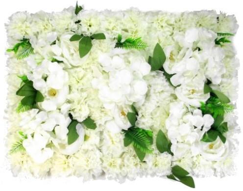 Flowerwall Flower Wall 40*60cm. 3D Pioen Anjer Hydrangea en blad Flowerwall Ivory en groen