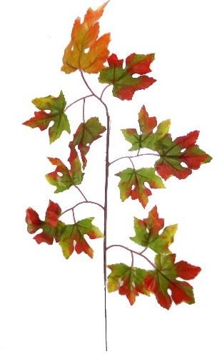 60cm MAPLE LEAF SPRAY  Groen/rood/oranje Zijdebloem PAK van 6 VT Wonen Botanical GREEN/RED/ORANGE
