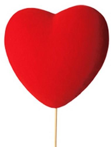 Bijsteker Groot rood hart flock 12x5cm+60cm stok rood/ pak 6 st Valentijn Moederdag