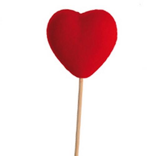 Bijsteker Hart vilt 6x6cm+50cm stok rood / pak +/- 25st Valentijn Moederdag