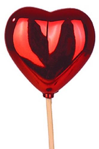 Bijsteker Hart glans 6,5x6,5cm+50cm stok rood  / pak +/- 25st Valentijn Moederdag