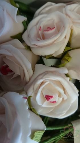 foam rose elegant 5cm. 5pc bundel Lichtrose likje rood foam rose 5cm.