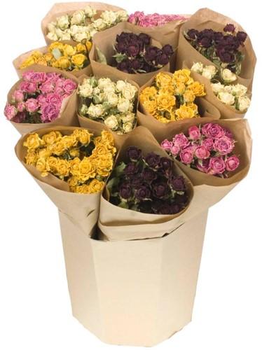 Droogbloemenboeketmix Gemengde trosroosjes rood,wit,roze,geel  4 bossen gedroogde rozen