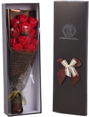 Bloemendoos gevuld met 48 rode kunstrozen Cadeaudoos rozenboeket