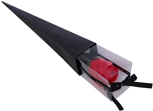 Bloementas Single Giftbag gevuld met rode kunstroos Cadeautas met roos