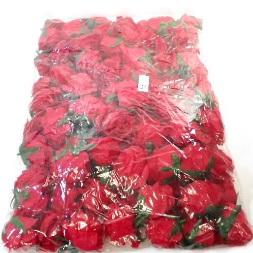 Zijde Rozen Rozenknop 8-9 cm. ROOD Pak 100 Goedkoopje ROSE FLOWER HEAD