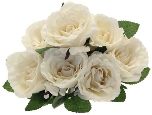 Zijderoos Rozenboeket Eden Roses Bunch Cream (L44cm) prachtige kwaliteit zijderozen