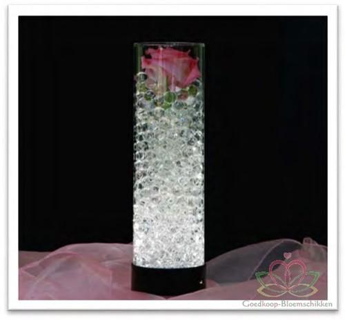 Glas Vaas 28 cm. Met Ledbodem GlasLampvaasjes doos