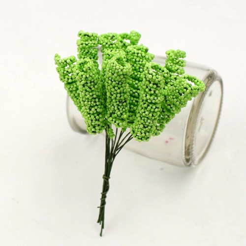Foam Curly Stamen Bacca pick Groen 12/bundel voor corsages en inpakken