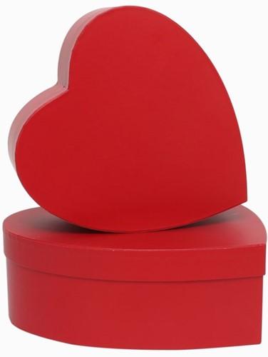 Set van 2 rode hartvormige bloemendozen gesloten Bloemendoos