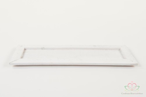 Houten tafeldeco wood tray Plat 45x15x1. 8cm. White Houten tafeldeco