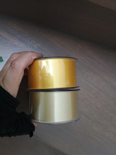 Goud / zacht geel Lint 70 mm met gouden opdruk 80 cm. Bedrukt Lint 70mm