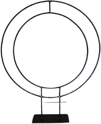 Frame Zwaar Dubbel Ring R50+R40 op plaat  Dubbele ring van ijzer onbehandeld zo van de smid