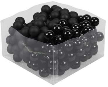 Balletjes op draad 2, 5 cm. Combi Zwart Black doos 144 stuks Kerstballen 2, 5 cm.