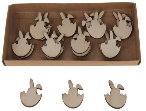 Houten konijntjes in ei carved 8 cm. 13 stuks Houten konijntjes