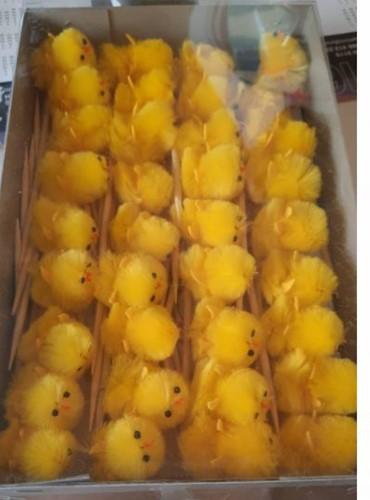 Chenille kuikentjes geel 3, 5 cm. doos 36 stuks kuikens kuikentjes chickens op stokje