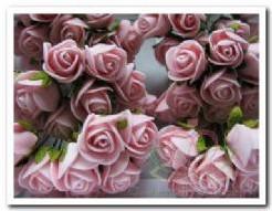 Mini foam roos 2 cm. Peachroze / doosje 144 Mini foam roos