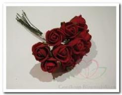 Mini foam roos 2 cm. rood / bundel Mini foam roos